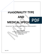 Personality Type and Medical Specialty