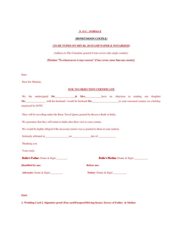 Noc  Noc Certificate For Passport