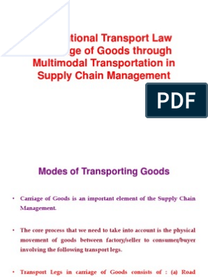 Multimodal Transport Act | Containerization | Transport