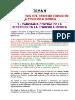 Tema 09 - La Recepcion Del Derecho Comun en La Peninsula Iberica.