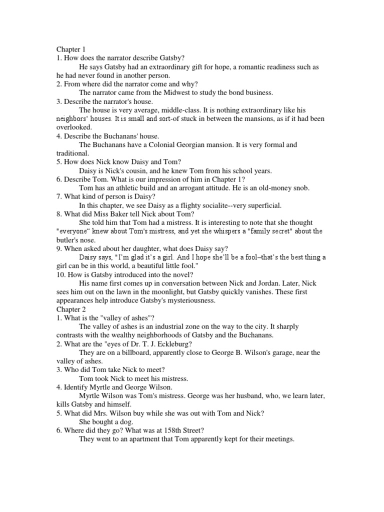 the great gatsby questions answers chapter 1 5 the great gatsby rh pt scribd com the great gatsby study guide questions and answers quizlet great gatsby study guide question answers