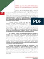 MANIFIESTO PSOE DÍA INTERNACIONAL CONTRA LA DISCRIMINACIÓN POR ORIENTACIÓN SEXUAL E IDENTIDAD DE GÉNERO 2013