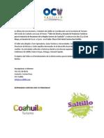 Convocatoria Taller de Diseño y Armado de Productos Turisticos para la Industria de Reuniones de la Region Sureste de Coahuila
