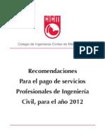Aranceles Colegio de Ingenieros Civiles 2012