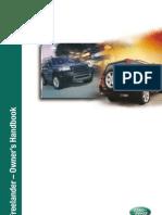 Freelander Owner Handbook Suppliment (2002)