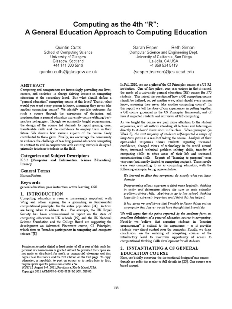 Computing As 4th R Curriculum Computer Programming