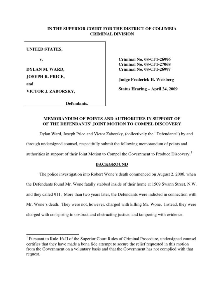 Defendants\' Motion to Compel Discovery | Prosecutor | Discovery (Law)
