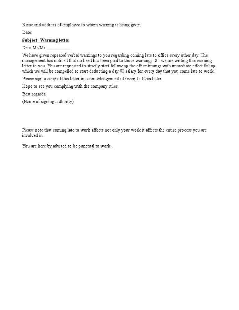 Sample of warning letter for late attendance free download letter for late coming altavistaventures