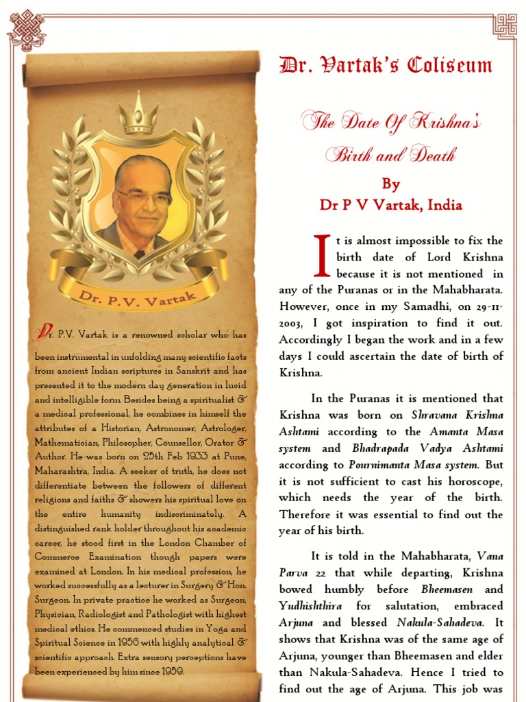 The Date of Krishnas Birth and Death b w   Mahabharata