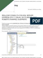 Realizar Consulta Con SQL Server Express 2012 y Visual c#