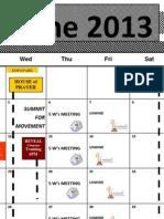 June 2013 Calendar Hlm