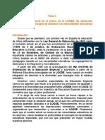 Tema 2a La Ee en El Marco de La Logse. Su Desarrollo Normativo. El Concepto de Acnee.