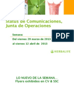 Status Comunicaciones Operaciones Del 29 MAR Al 12 ABR CV