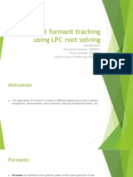 Formant Tracking Using LPC Root Solving