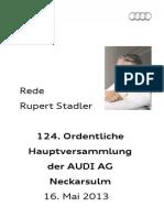 Rupert Stadler - 124. Ordentliche Hauptversammlung der Audi AG - 1. Teil