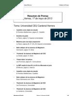 Resumen Prensa CEU-UCH 17-05-2013