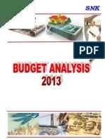 SNK Budget Analysis 2013