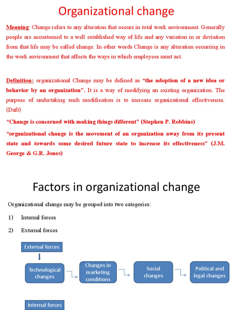 external forces of change in an organization