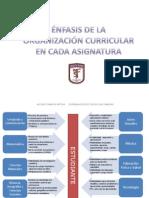 ÉNFASIS DE LA ORGANIZACIÓN CURRICULAR POR ASIGNATURA