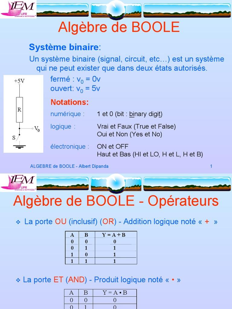 Algébre de boole | Algèbre de Boole (logique) | Arithmétique