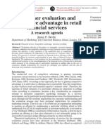 Consumer Evaluation and Competitive Advantage in Retail Financial Services - A Research Agenda