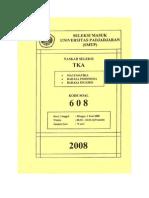 Soal Seleksi Masuk Universitas Padjadjaran 2008