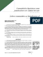 Comunidades Liquenicas Como Bioindicadores d Calidad Del Aire Del Valle d Aburra,Margarita Jaramillo, Liliana Botero