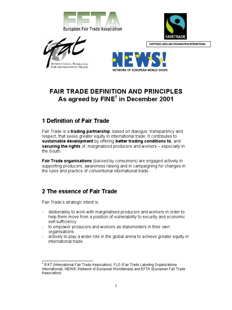 fair trade definition and principles | fair trade | international