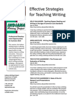 Indiana Writing Project Professional Development Programs Summer 2013