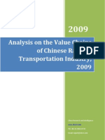 Analysis on the Value Chains of Chinese Railway Transportation Industry, 2009
