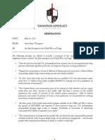 Memorandum - Thompson Advocacy Group re