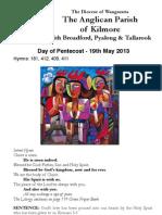 Pew Sheet 19 May 2013 Pentecost