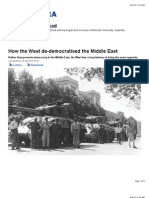 How the West de-Democratised the Middle East