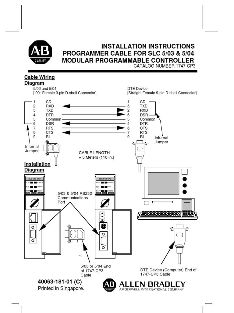 9 pin connector wiring diagram programming cable slc504  programming cable slc504