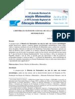 A HISTÓRIA DA MATEMÁTICA EM SALA DE AULA - UM RECURSO METODOLÓGICO