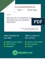 Seleccion de Anestesicos Locales Adecuados Para Hipertensos