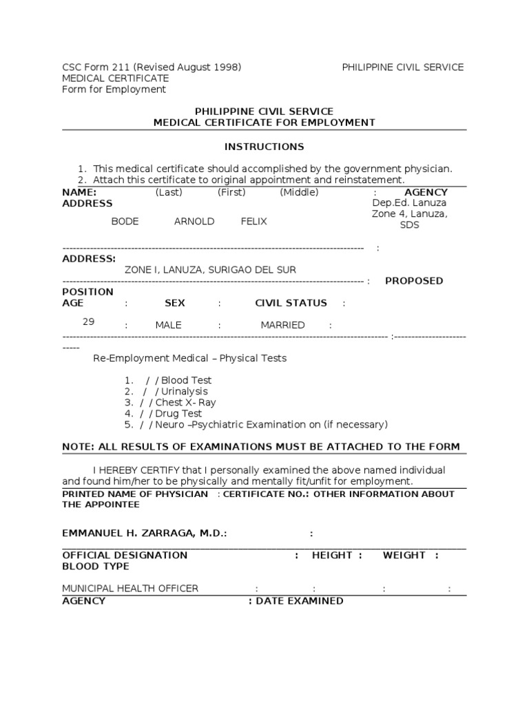 Medical Certificate CSC Form 211 on medical paper form, notice form, roof inspection report blank form, medical declination form, teen form, medical exam form, medical affidavit form, medical verification form, medical transfer form, lease agreement form, medical request form, medical education form, medical tar form 2014, medicare certification form, waiver form, certification request form, medical transcript form, leave of absence form, medical physical for firefighters, medical school form,
