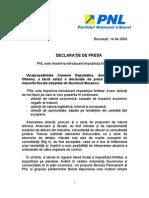 Declaratie de Presa Bogdan Olteanu Privind Introduce Re A Impozitului Forfetar 14 Aprilie 2009