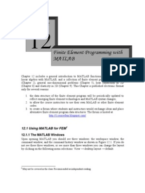 finite element programming with MATLAB | Matrix (Mathematics