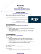 it  project manager cv template it database administrator cv template