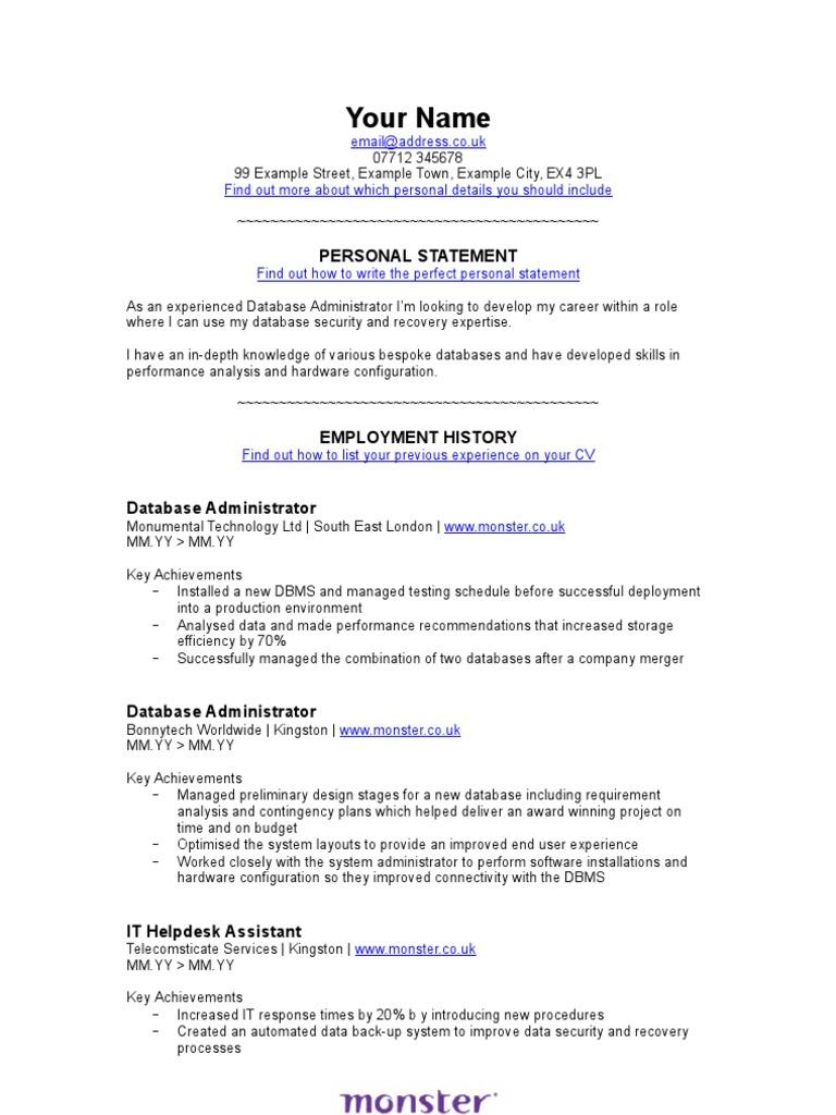 Beste Monster Lebenslauf Datenbank Galerie - Beispiel Business ...