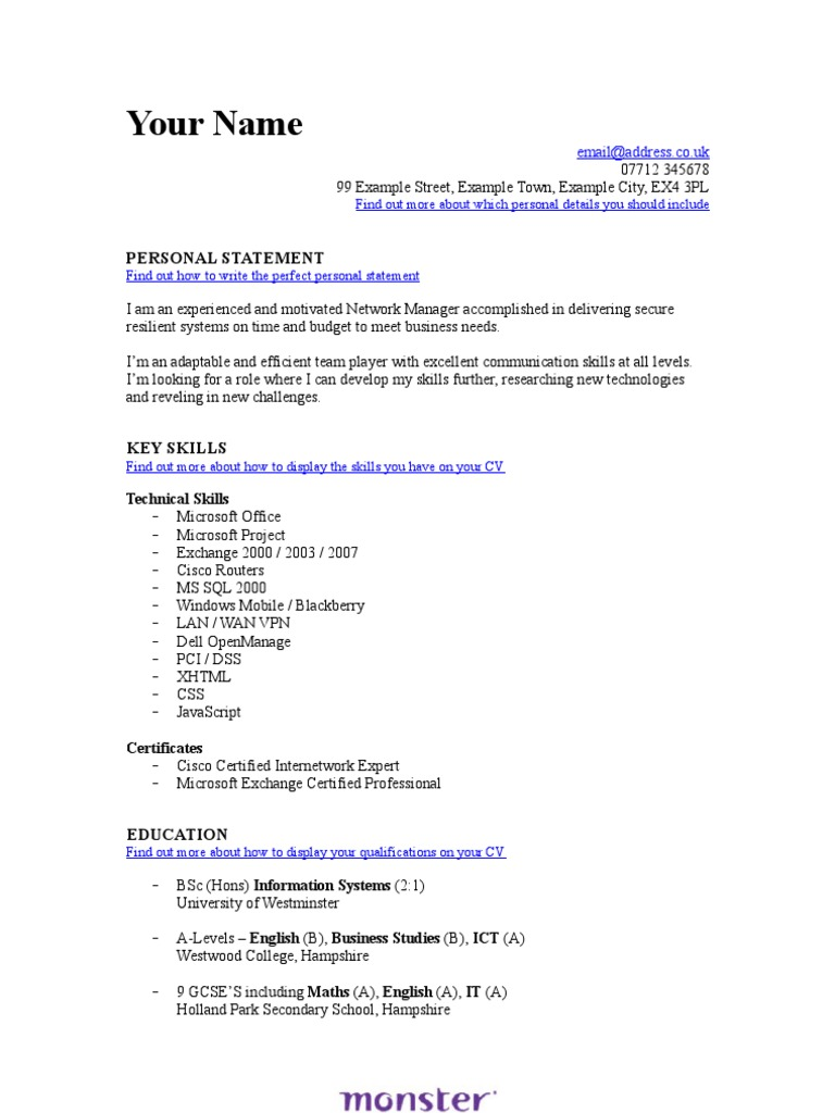 it network manager cv template