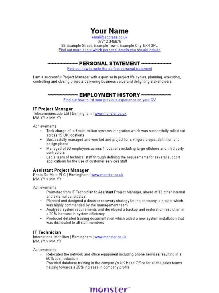 Nett Monster Job Lebenslauf Fotos - Entry Level Resume Vorlagen ...