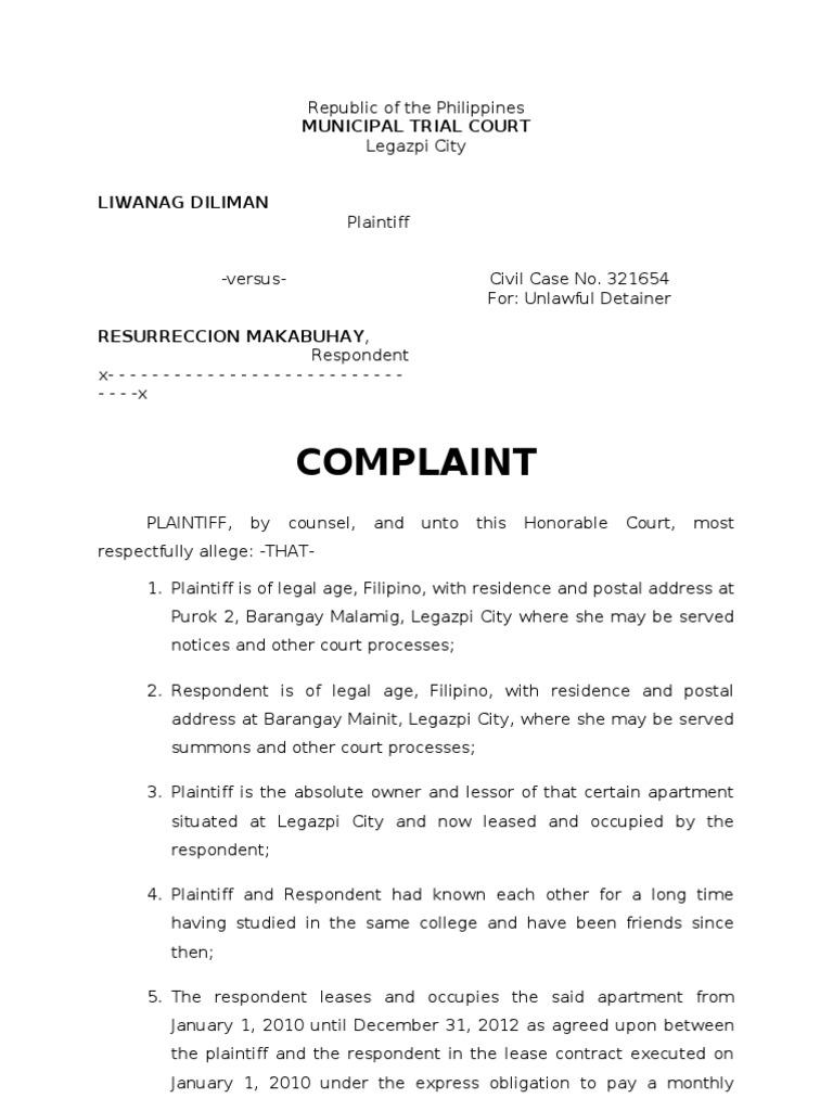 Sample Legal Complaint Letter Philippines