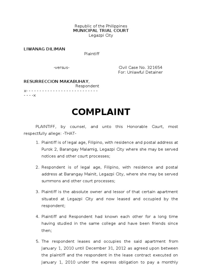 sample complaint for ejectmentdoc plaintiff