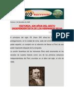 HISTORIA 200 AÑOS DEL GRITO INDEPENDENTISTA DE LOS HERMANOS SILVA