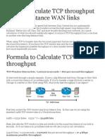 How to Calculate TCP_IP Throughput