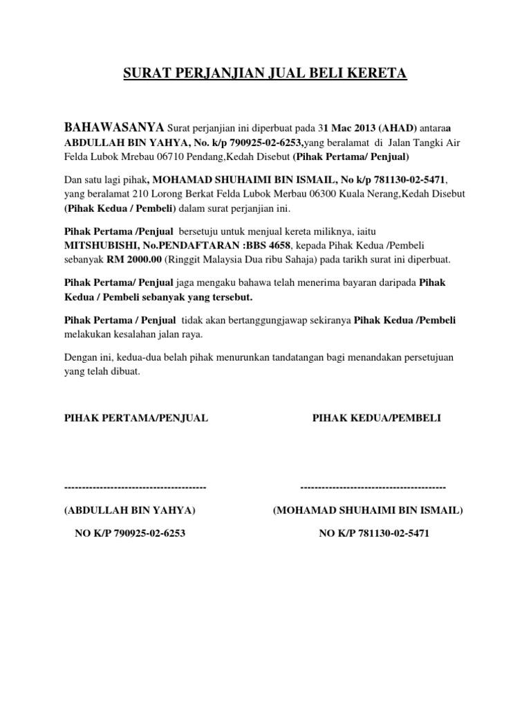 Contoh Surat Perjanjian Jual Beli Kereta