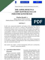 Analisis Aspek Hukum Dan Manajemen Kontrak Industri Konstruksi