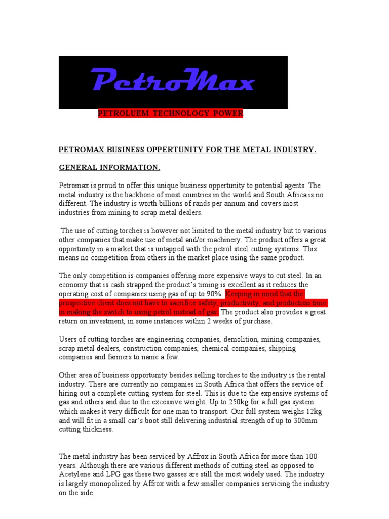 Petromax Business Opportunity for the Metal Industry | Gasoline ... for Gas Petromax  555kxo